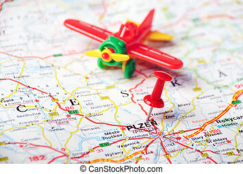 pilsen, repubblica ceca, mappa, aeroplano