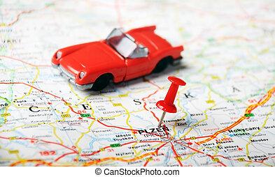 pilsen, repubblica ceca, mappa, automobile