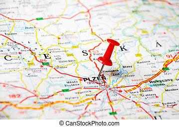 pilsen, repubblica ceca, mappa