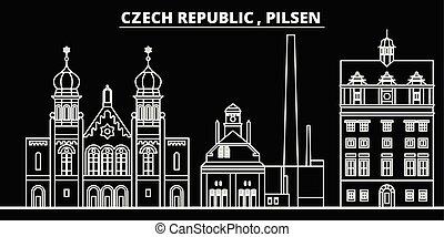 Pilsen silhouette skyline. Czech Republic - Pilsen vector...