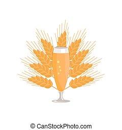 pilsner, aislado, vidrio, cerveza, plano de fondo, blanco