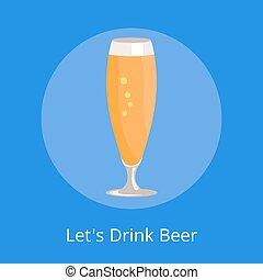 pilsner, bebida, lets, aislado, vidrio, cerveza, icono