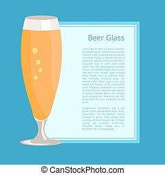 pilsner, cartel, ilustración, vidrio, cerveza, vector