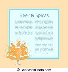 pilsner, cartel, vidrio, cerveza, vector, especias