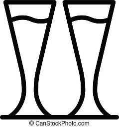 pilsner, icono, contorno, estilo, anteojos