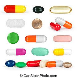 pilule, blanc, isolé, monde médical