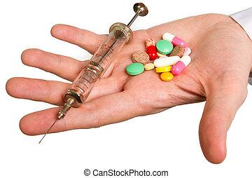 pilule, dans, a, main