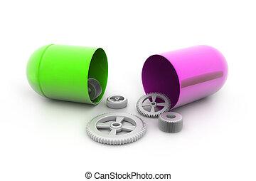 pilule, engrenages, ouvert, intérieur.