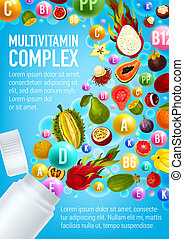 pilule, fruits, vitamine, affiche, multivitamin
