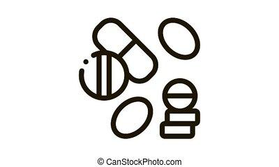 pilule, icône, drogue, animation, monde médical