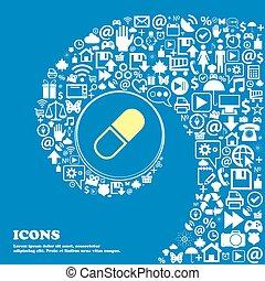 pilule, icône, ., gentil, ensemble, de, beau, icônes, tordu, spirale, dans, les, centre, de, une, grand, icon., vecteur
