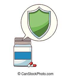 pilules, botlle, dessin animé
