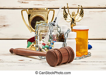 pilules, chaîne, marteau, awards.