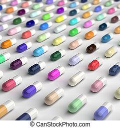 pilules, coloré