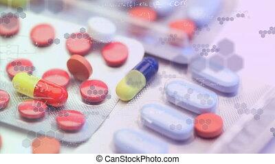 pilules, différent, animation, flotter, chimique, ...