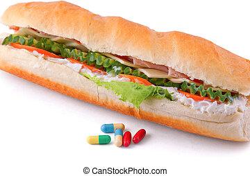 pilules, et, deux, hot dog, à, divers, ingredients.