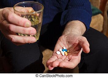 pilules, et, eau