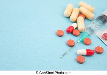 pilules, et, seringue