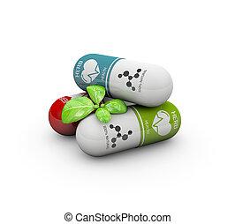 pilules, naturel, vitamine, illustration, medicine., alternative, 3d