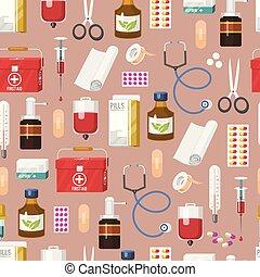pilules, plâtre, pipette., fiole, sanitizer, monde médical, premier, pattern., seamless, illustration, bouteilles, kit, vecteur, stéthoscope, médecine, aide, healthcare, médecine, seringue, main, traitement