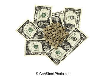 pilules, sur, billets banque