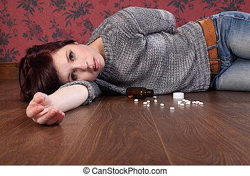 pilules, surdosage, adolescent, mensonge, plancher