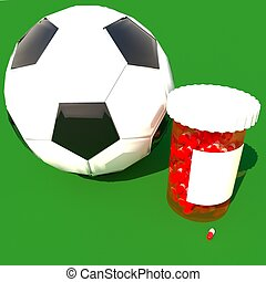 pilules, tube, près, a, boule football