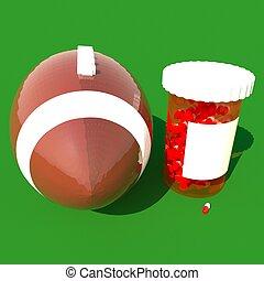 pilules, tube, près, a, football