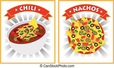 pimentão, e, nachos, ilustração