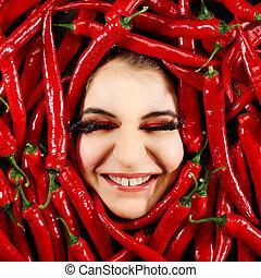 pimentão, mulher, pimenta, vermelho