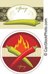 pimentão, quente vermelho, e, pimentas verdes