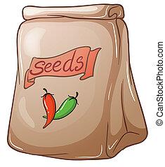 pimentão, sementes, pacote
