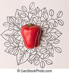 pimentão vermelho, sobre, esboço, floral, fundo