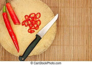 pimentões, conceito, cozinhar, corte, vermelho, faca, tábua