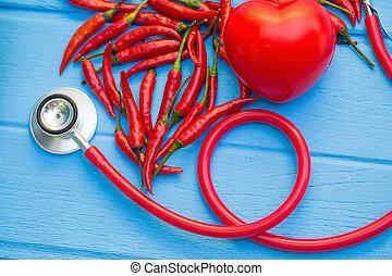 pimentões, conceito, imagem, Coração, saudável, alimentos, melhor