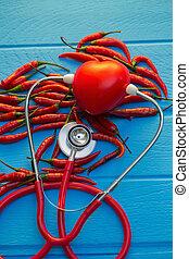 pimentões, melhor, alimentos, para, coração saudável, conceito, image.