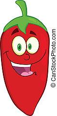 piment, caractère, poivre, rouges, dessin animé