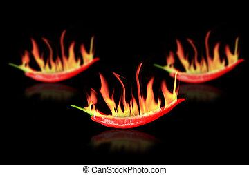 piment chaud, rouges, pepper.