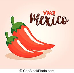 piment, mexicain, icône poivre