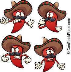 piment, mexicain, poivre