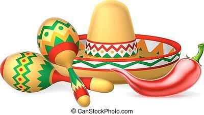 piment rouge, maracas, mexicain, sombrero