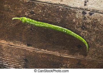 pimenta, madeira, verde, longo
