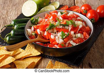 pimenta, mexicano, cebolas, jalapeno, tomates, de, cilantro, pico, close-up., horizontais, gallo