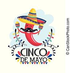 pimenta, mexicano, maracas, pimentão, chapéu, evento