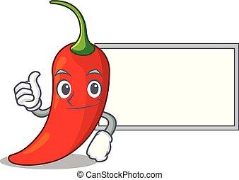 pimenta, natural, cima, quentes, tábua, pimentão, caricatura, vermelho, polegares