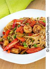 pimenta,  noodle,  saute, vermelho, camarão