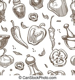 pimenta, padrão, seamless, vetorial, fundo, tempero