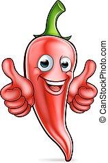 pimenta, personagem, caricatura, vermelho