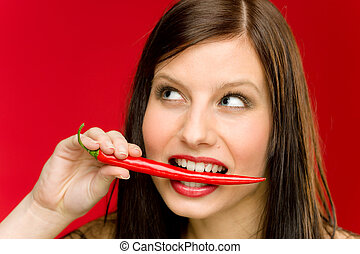 pimenta pimentão, -, retrato, mulher jovem, mordida, vermelho, temperado