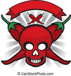 pimenta pimentão, vermelho, cranio